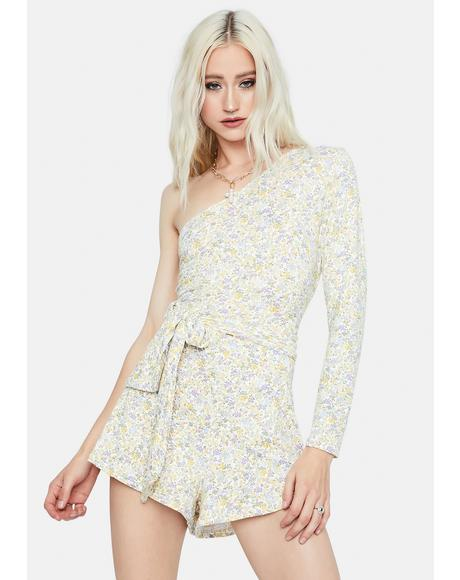 True Gardens Floral One-Sleeve Romper