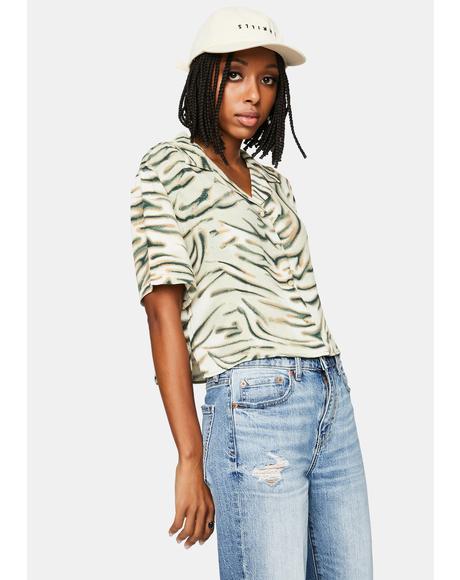Thrift White Warped Crop Shirt