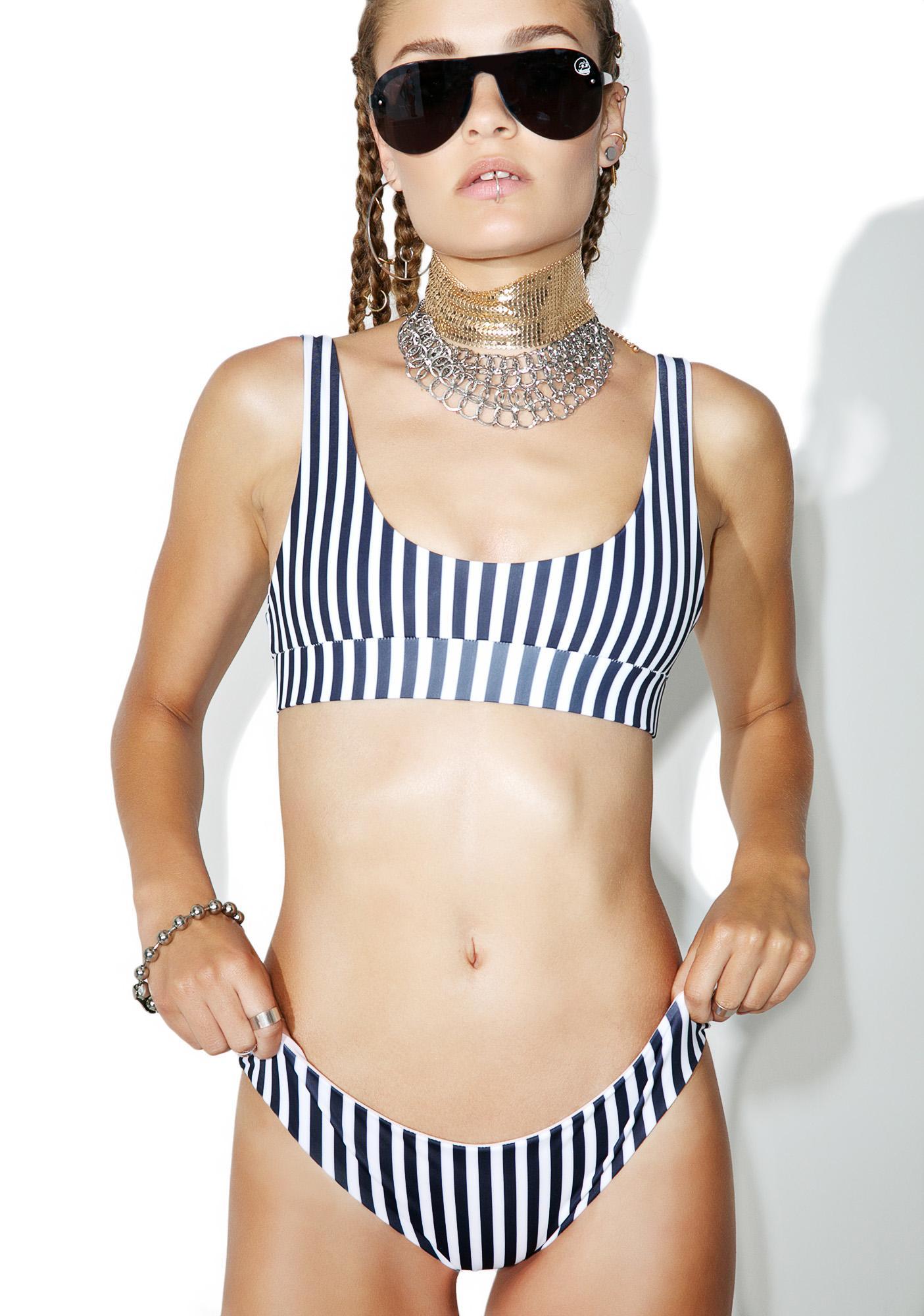 Kulani Kinis Nude Zebra Crop Bikini Top