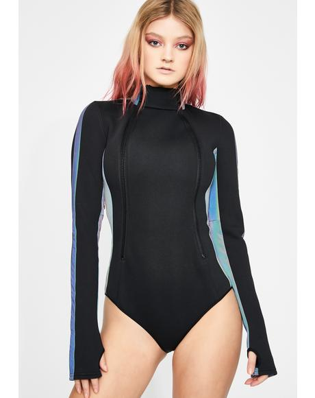 Prismatic Wonderland Zipper Bodysuit