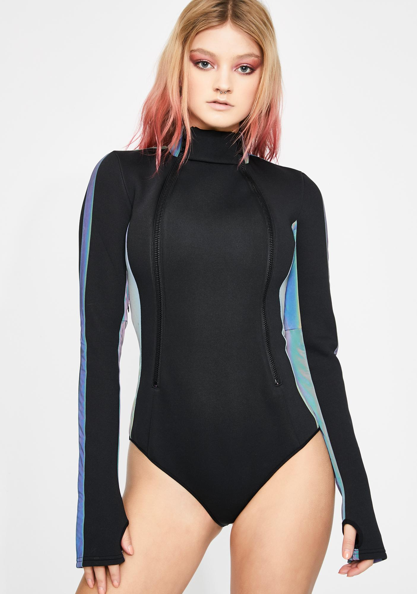 Club Exx Prismatic Wonderland Zipper Bodysuit