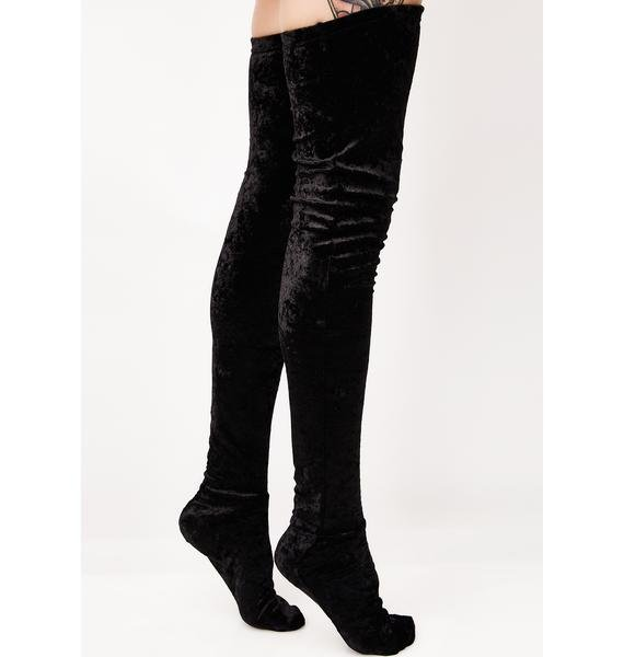 Crushed Step Thigh High Socks