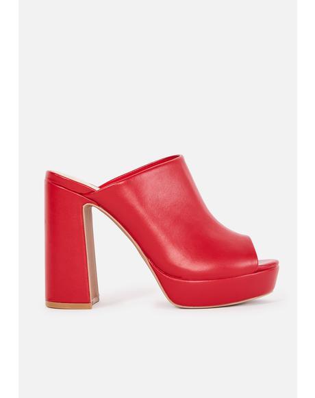 Scarlet Best Intentions Mule Heels