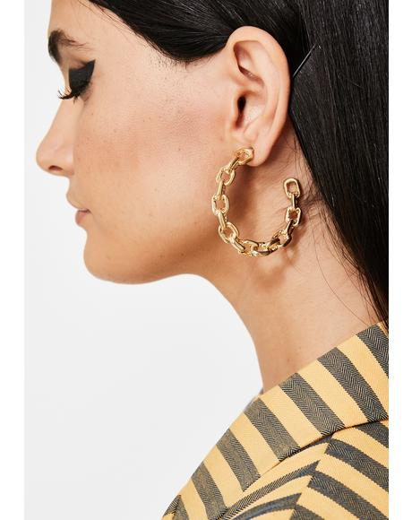 Golden Chained Up Hoop Earrings