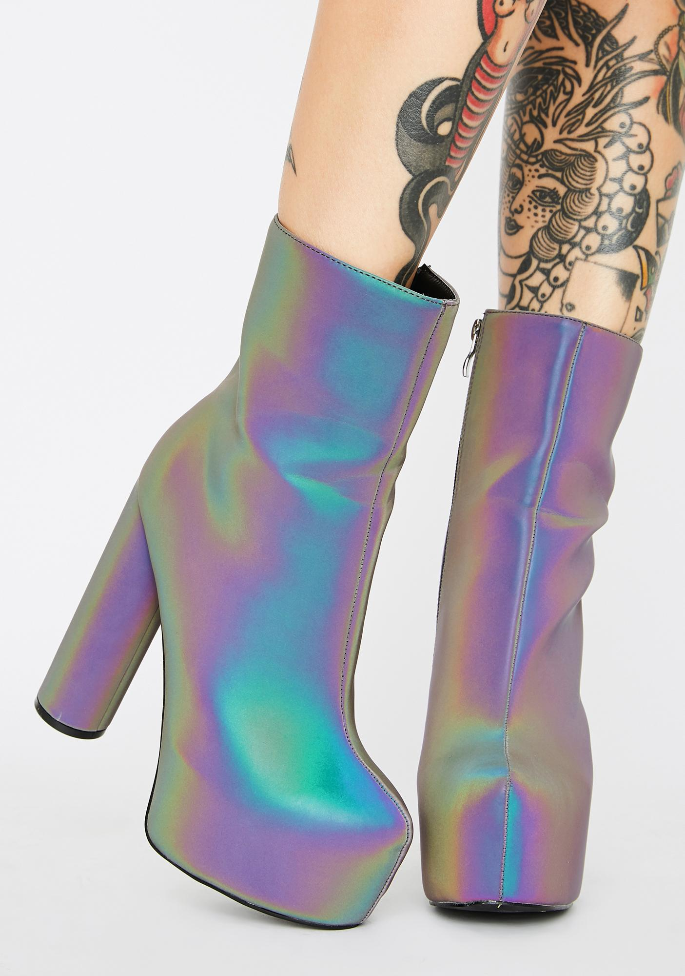 Lemon Drop by Privileged Act Up Reflective Platform Boots