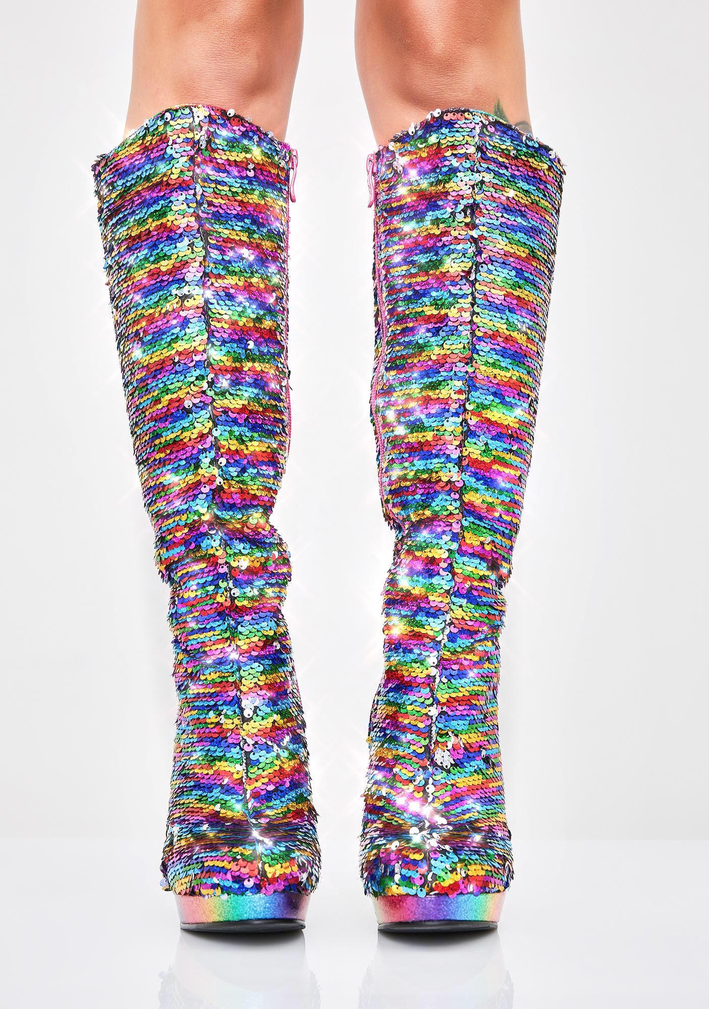 Glitter Fever Knee High Boots