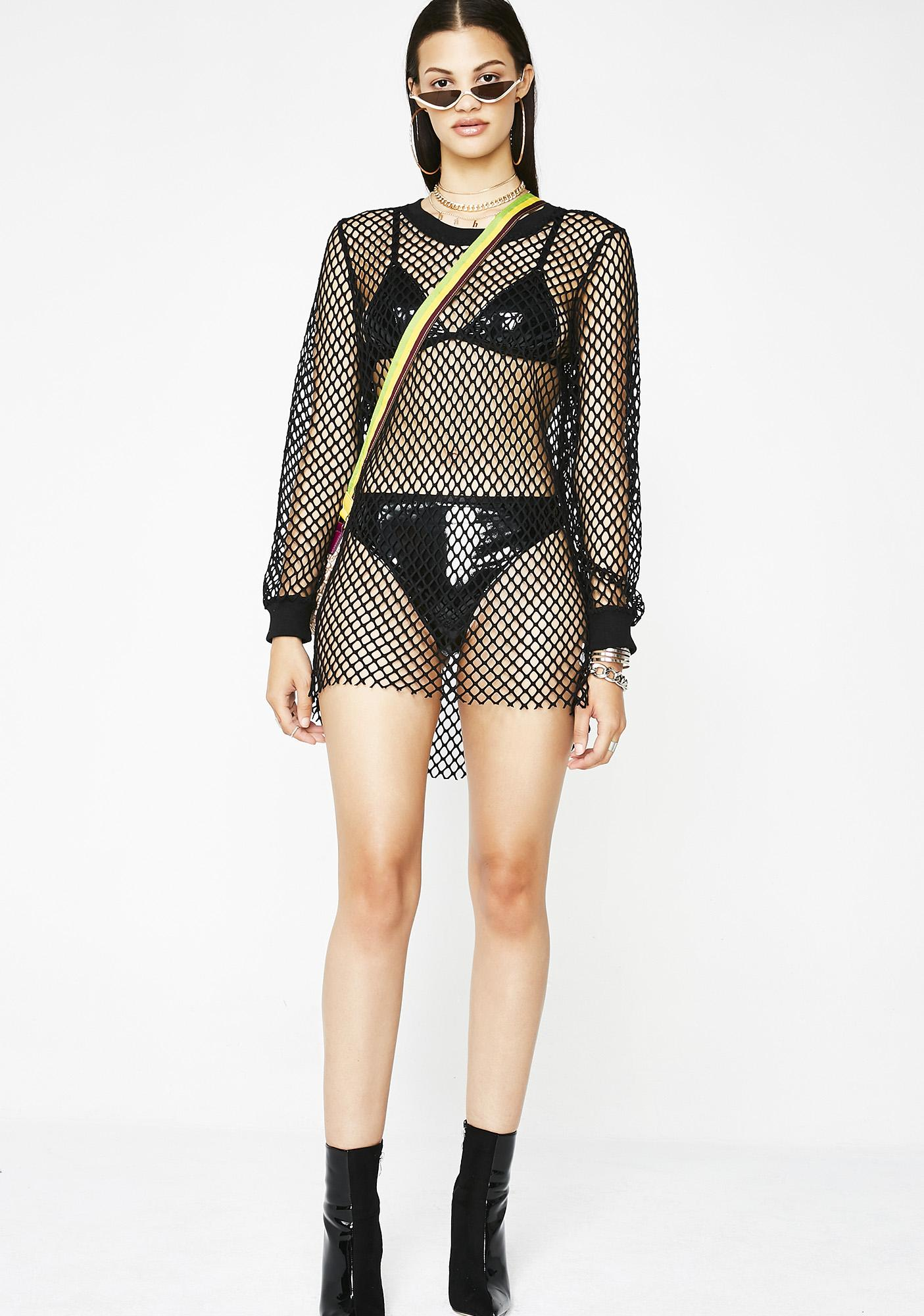 See About Me Fishnet Dress