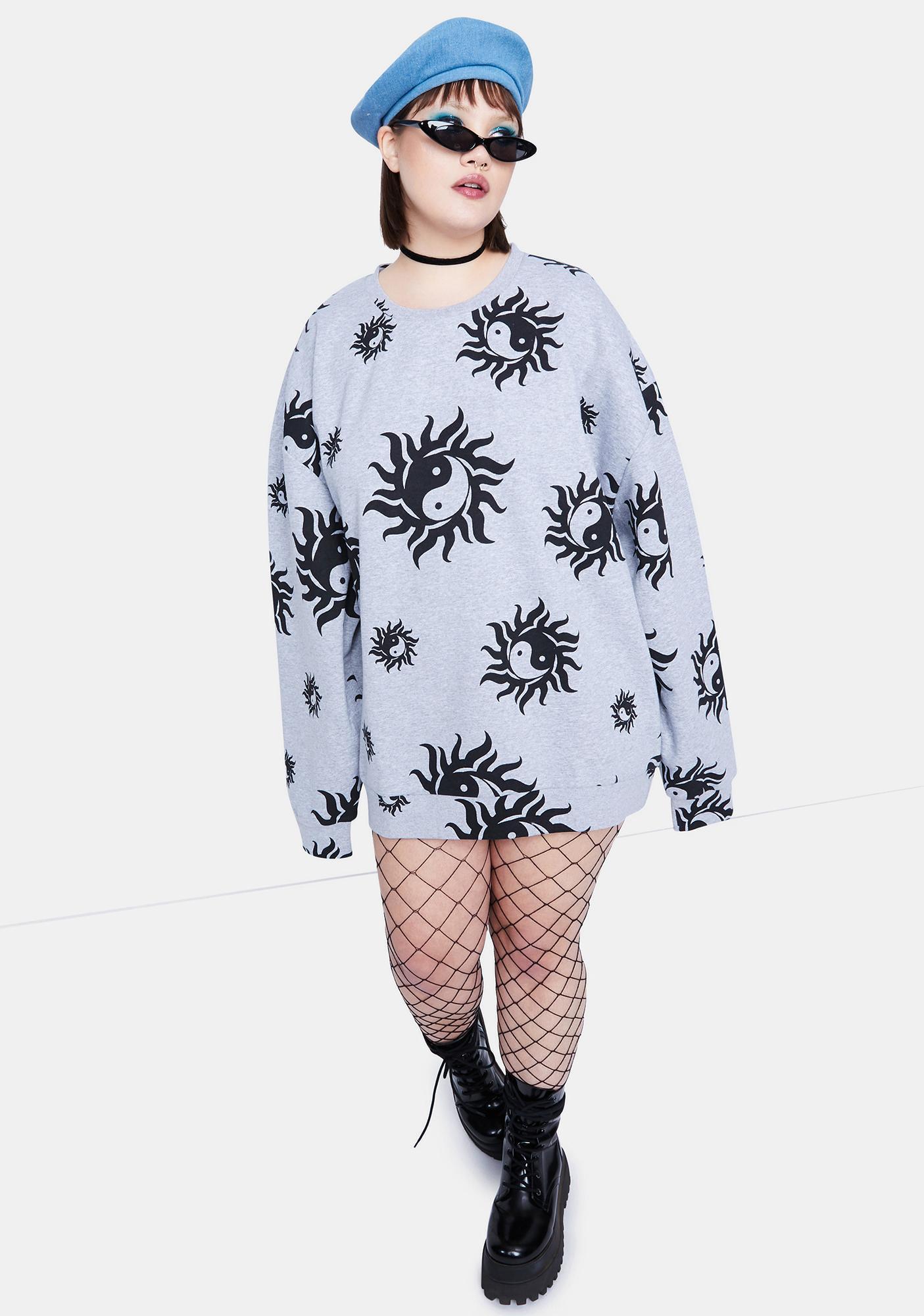 NEW GIRL ORDER Curve Yin Yang Marl Crewneck Sweatshirt