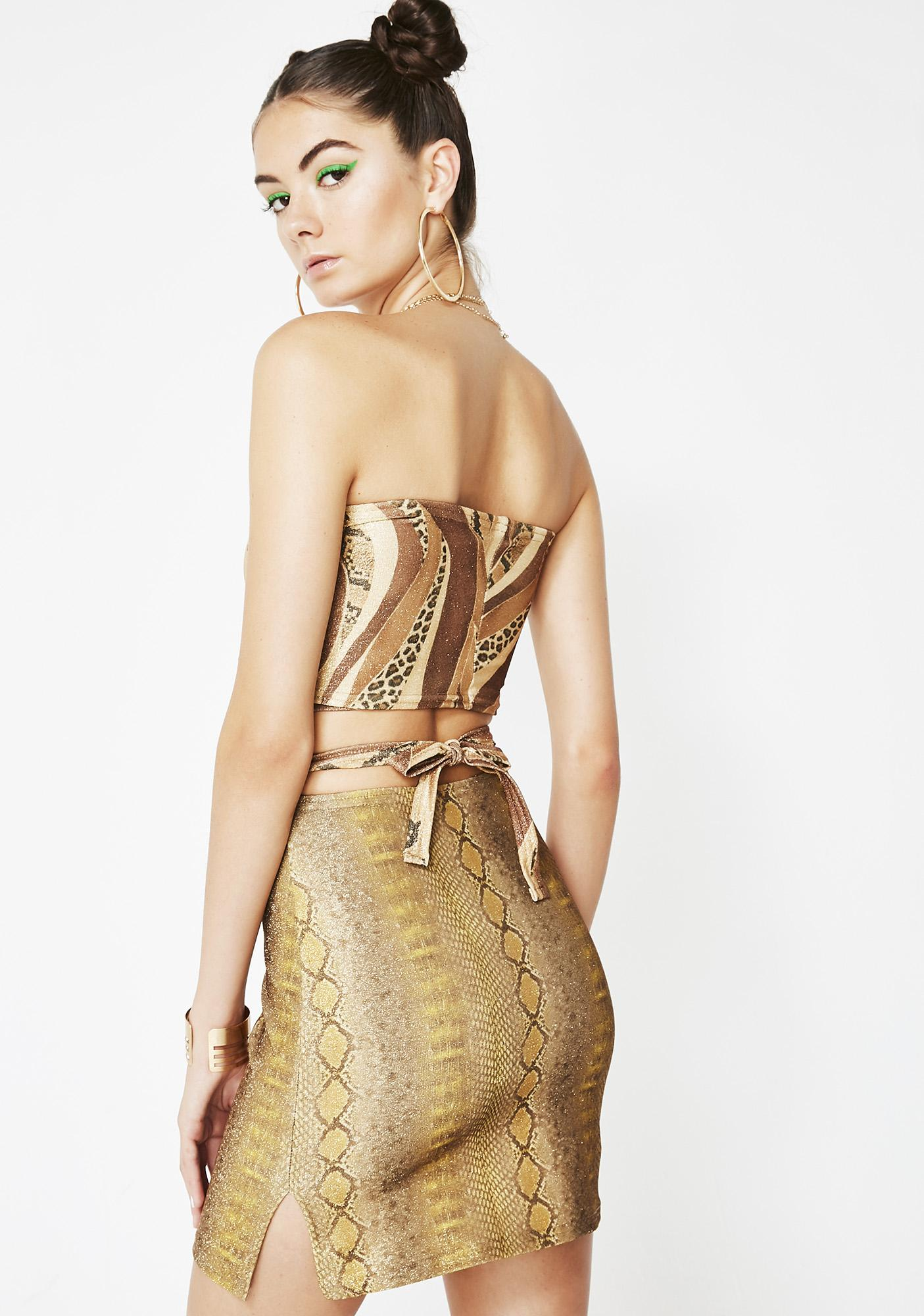 American Deadstock Gold Snake Skirt