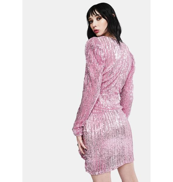 Glamorous Pink Pleated Sequin Dress