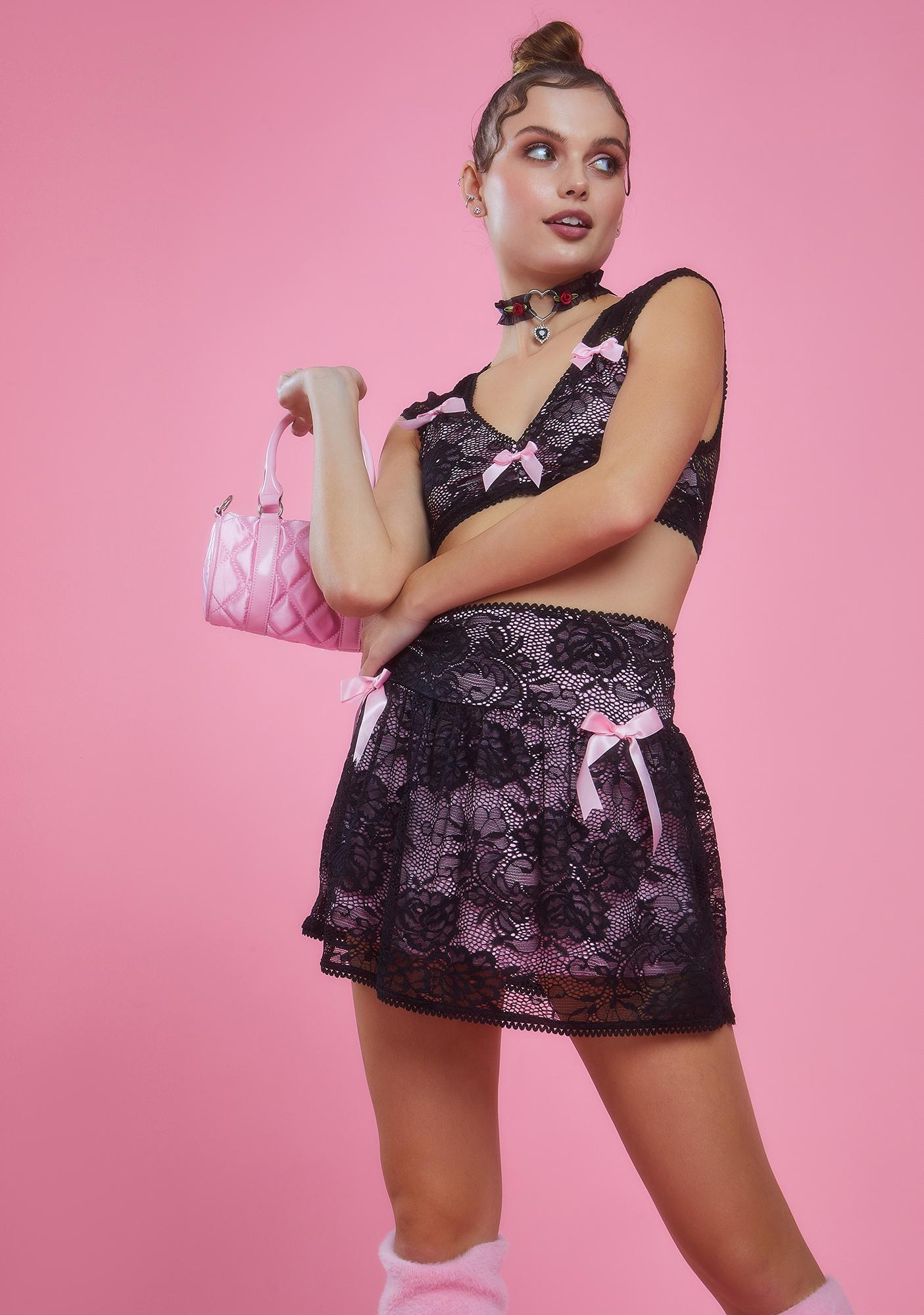 Sugar Thrillz Grace In Lace Satin Bow Mini Skirt
