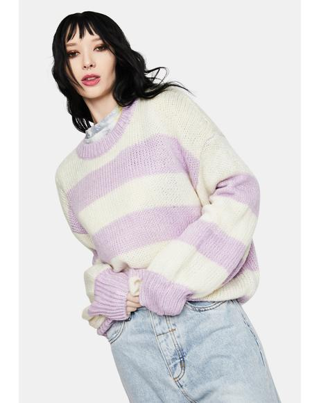 Lavender Stripe Knit Sweater