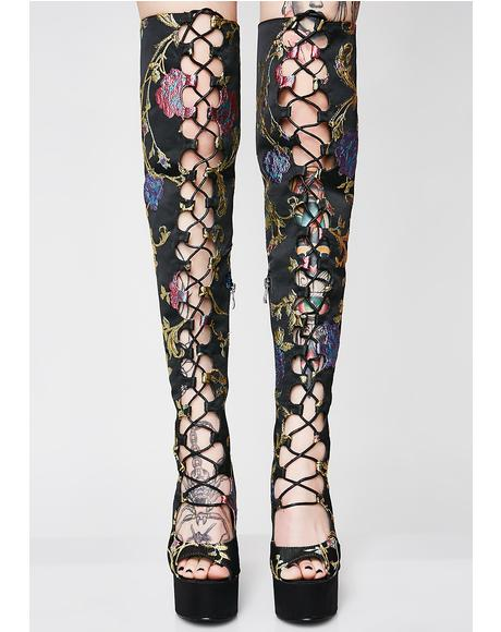 Bloom About That Life Lace Up Thigh Highs