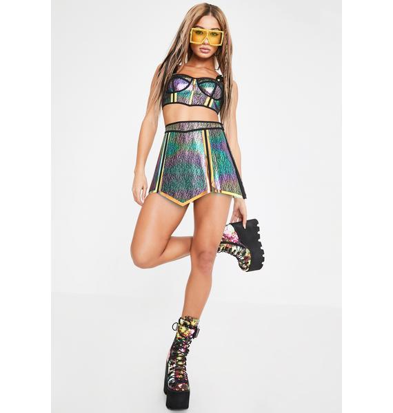 Club Exx Dark Opulent Empress Hologram Skirt