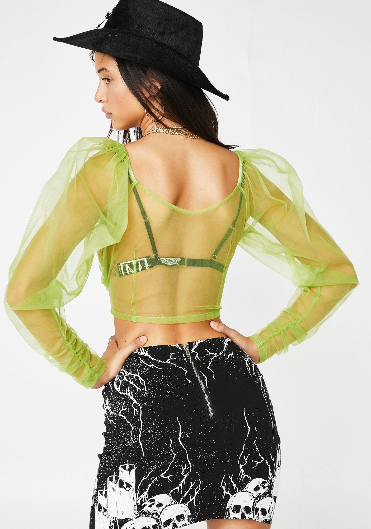 No Dress Fruit Green Transparent Puff Top