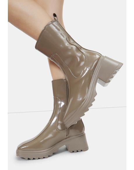 Khaki Rain On Me Mid Rise Ankle Boots