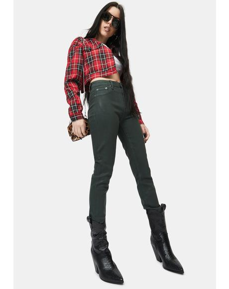 Coated Green Gables Aline High Rise Skinny Jeans