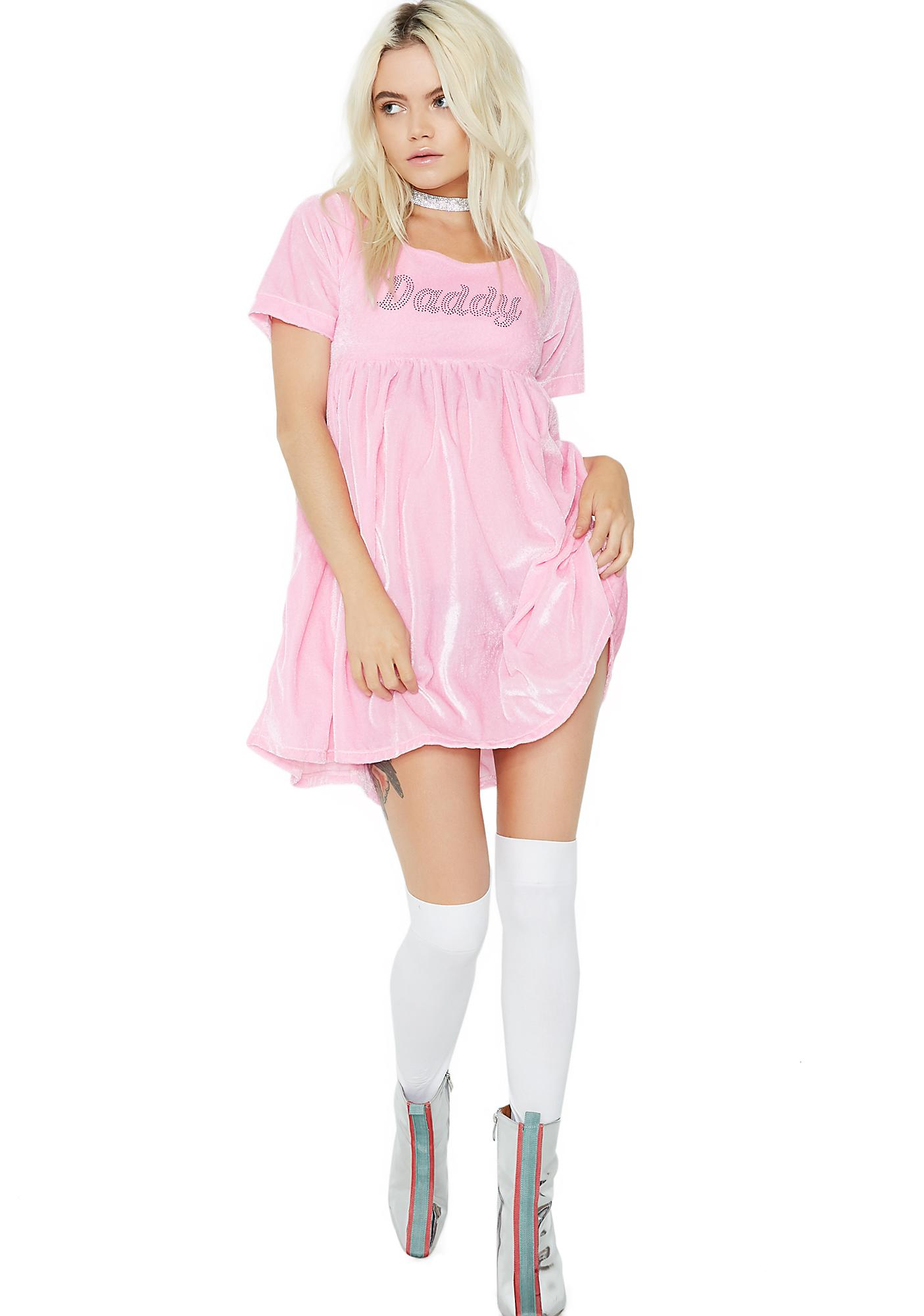 O Mighty Daddy Velvet Babydoll Dress
