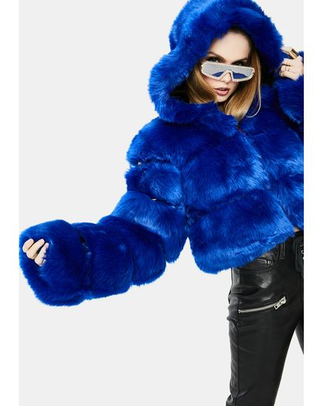 Blue Bape Faux Fur Jacket