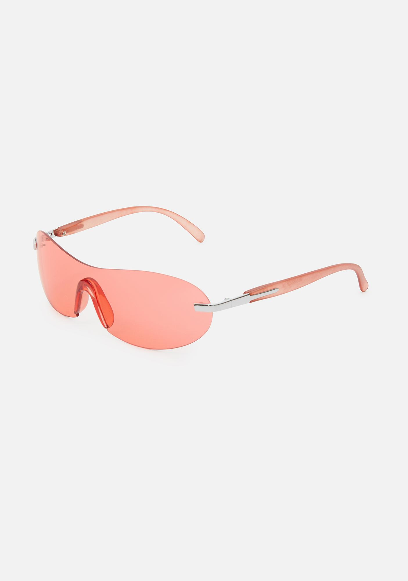 Good Times Eyewear Red 2000s Shield Sunglasses