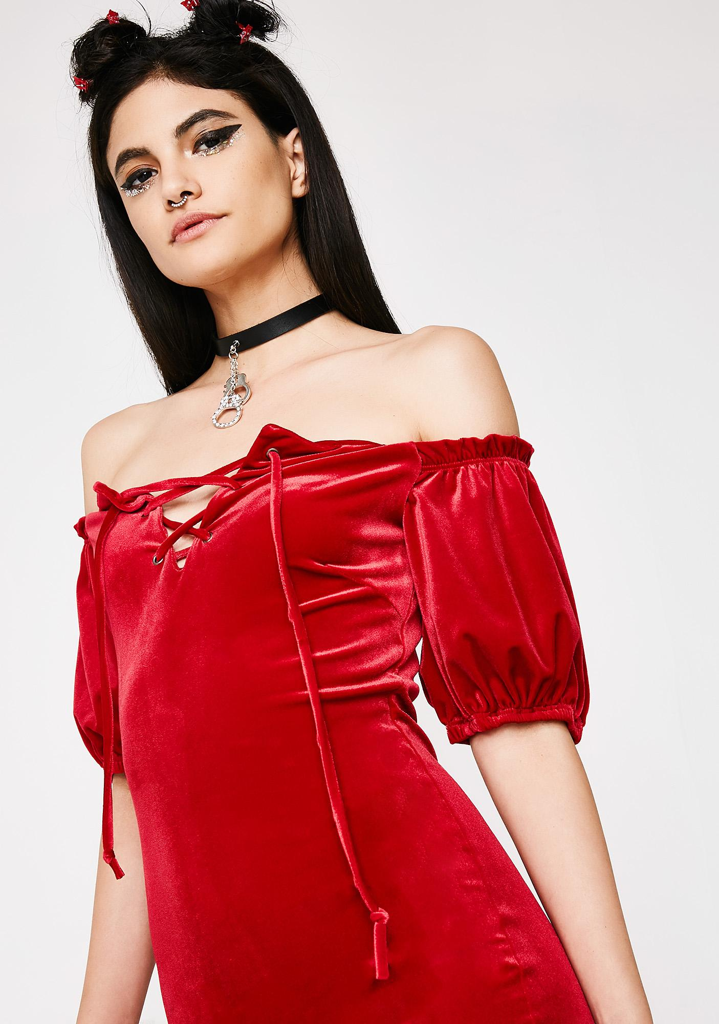 You're Fiyah Velvet Dress