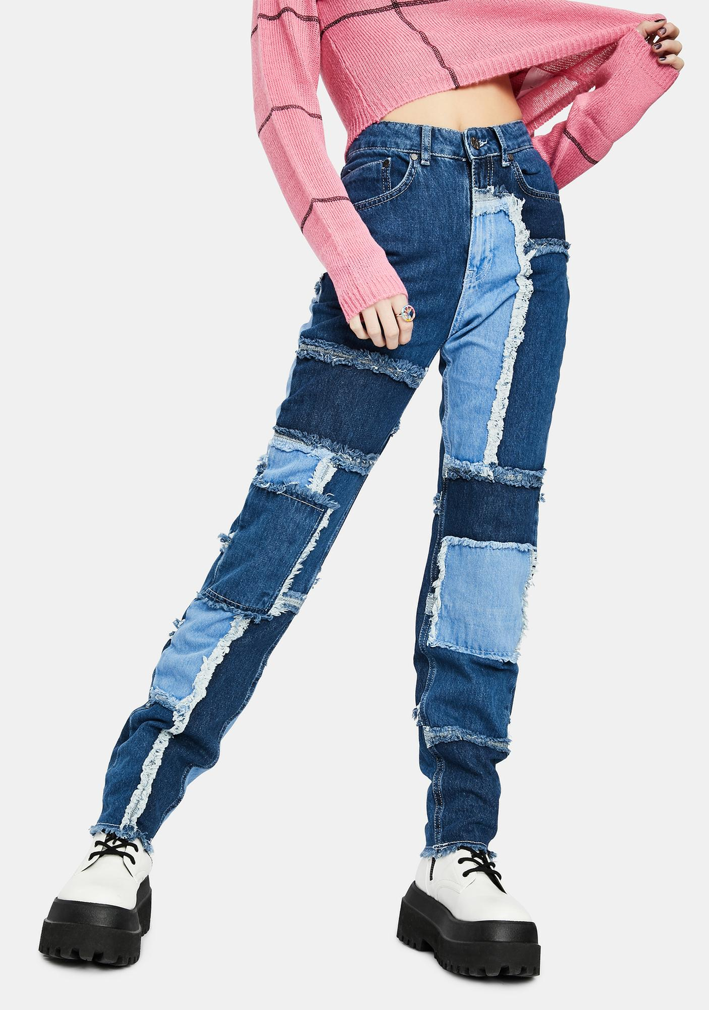 The Ragged Priest Cheat Patchwork Mom Jeans