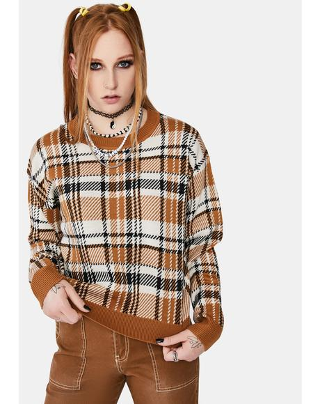 Plaid Jacquard Crew Sweater