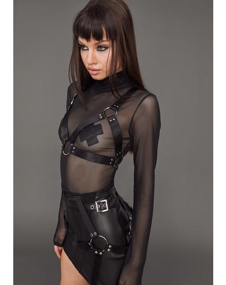 Naughty Habits Mesh Top And Harness Set