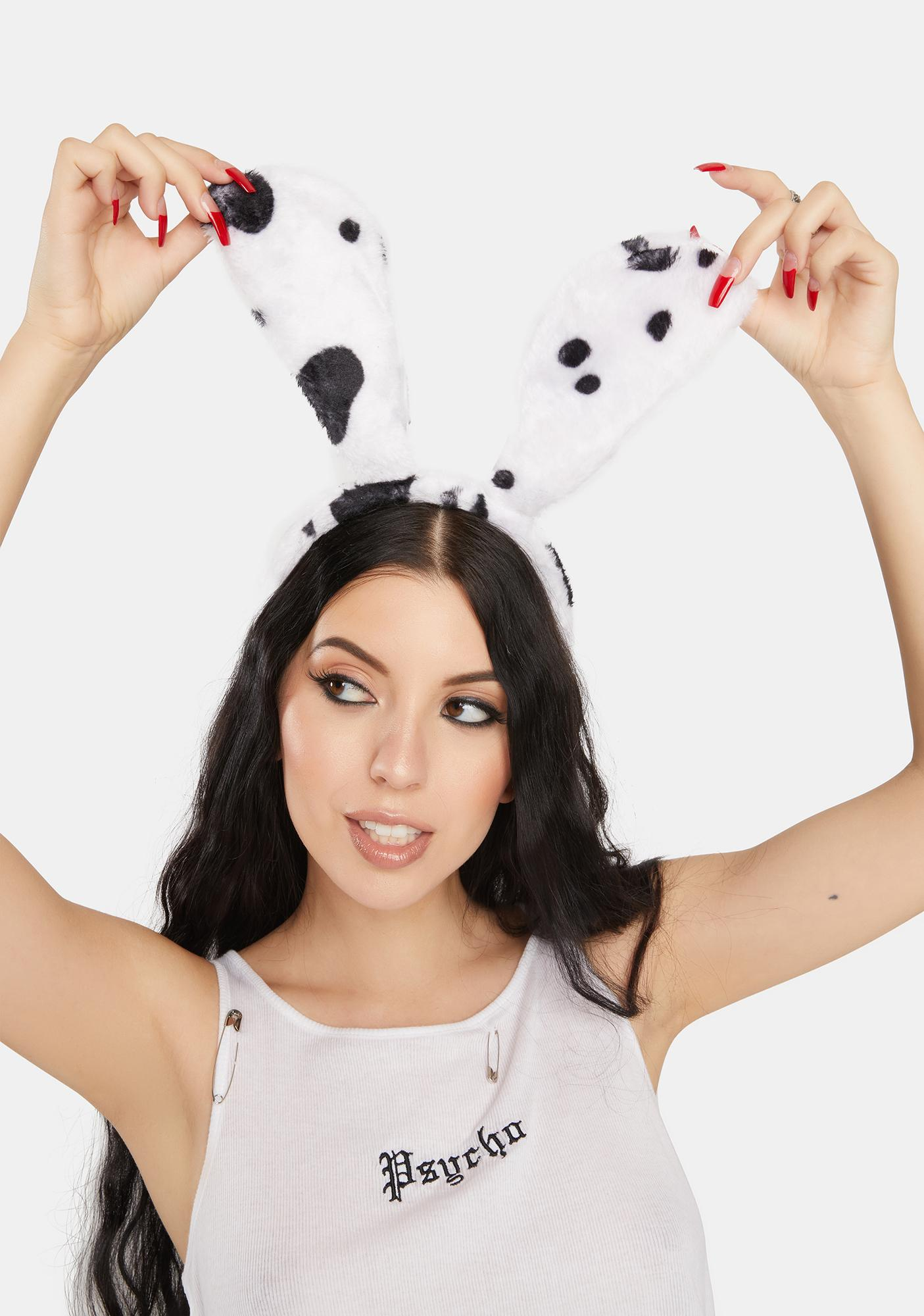 Cow Call Me Bunny Fuzzy Headband