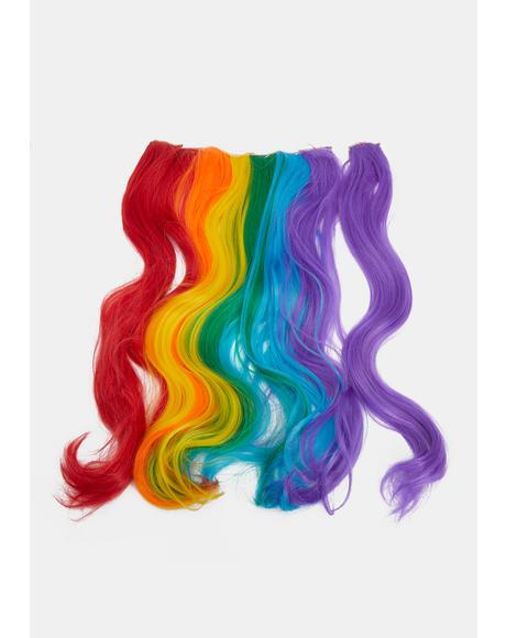 Blissful Rainbow Hair Extensions