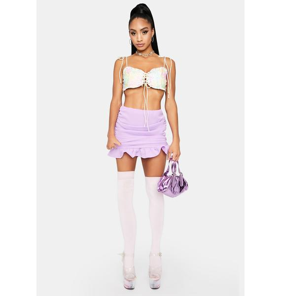 Lilac Money Honey Ruched Skirt