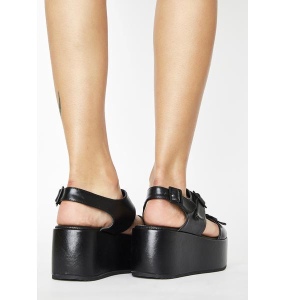Rebels Black Lori Platform Sandals