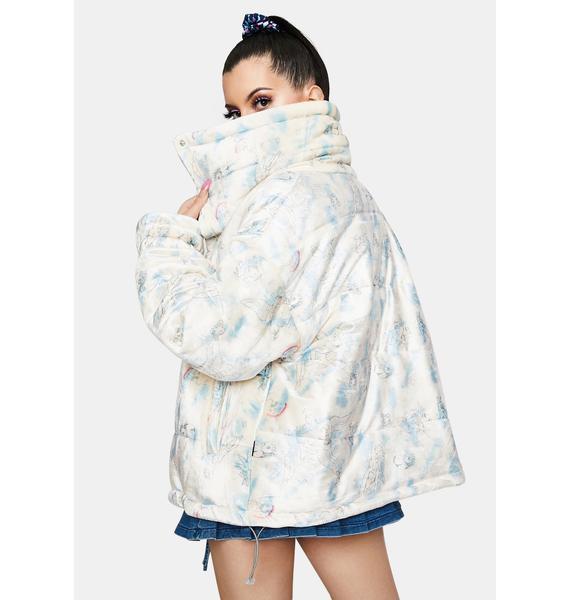 ZEMETA Cupid Velvet Printed Puffer Jacket
