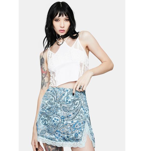 Frankies Bikinis Blue Paisley Boden Lace Silk Skirt