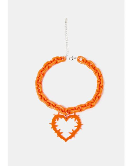 Risky Romance Barbed Wire Heart Chain Necklace