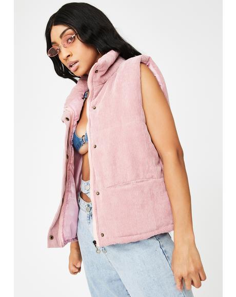 Pink Velvet Puffer Vest