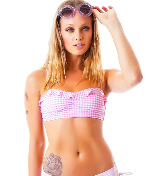 Wildfox Couture Gingham Ruffle Bandeau Top