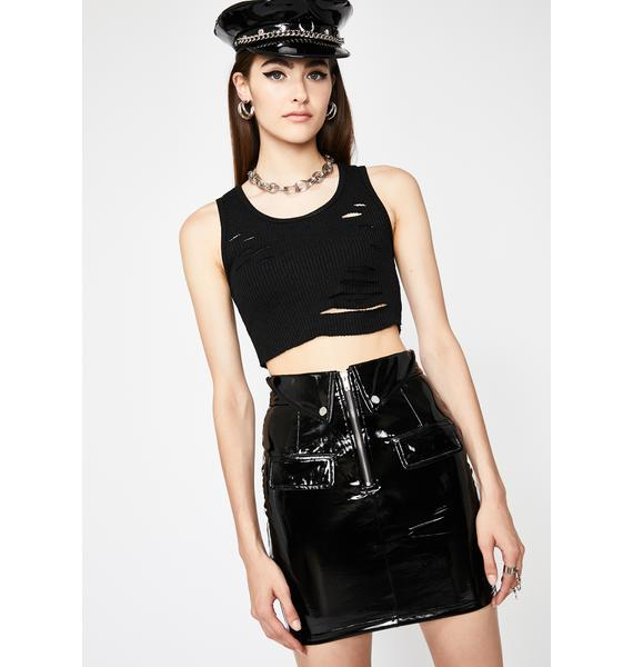 Sinful Doll Dilemma Vinyl Skirt