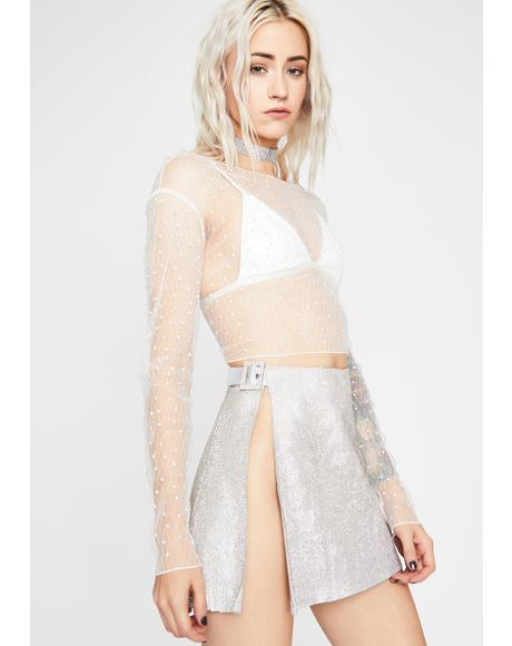 Icy Spectral Radiance Rhinestone Crop Top