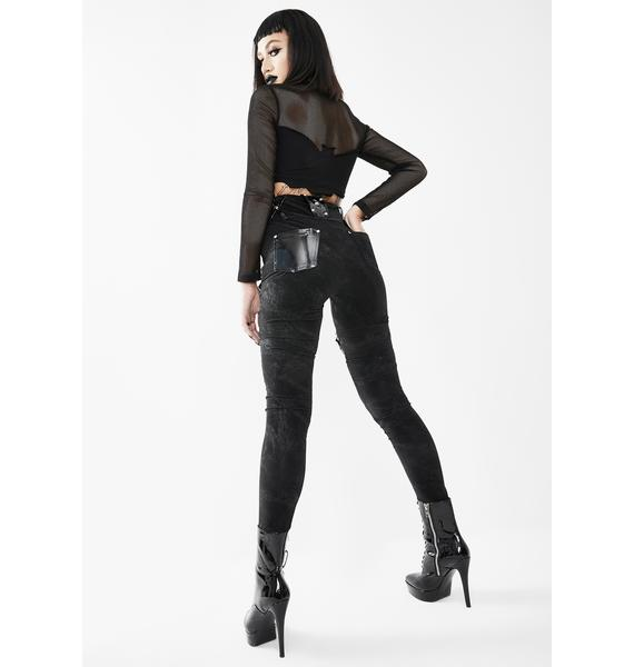 Devil Fashion Pentagram Leg Harness Skinny Pants