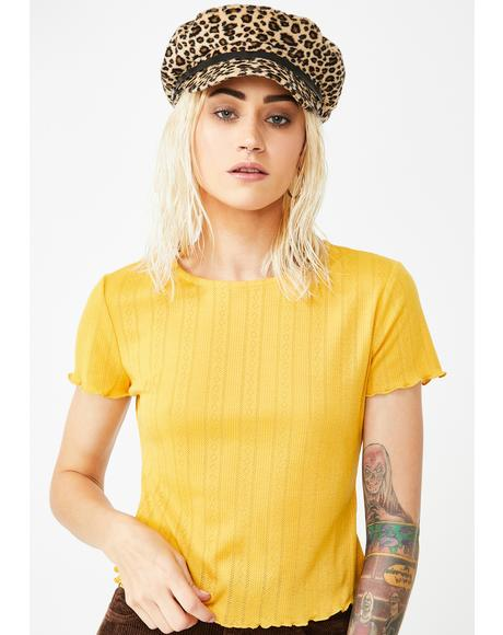 Yellow Lettuce Edge Crop Tee