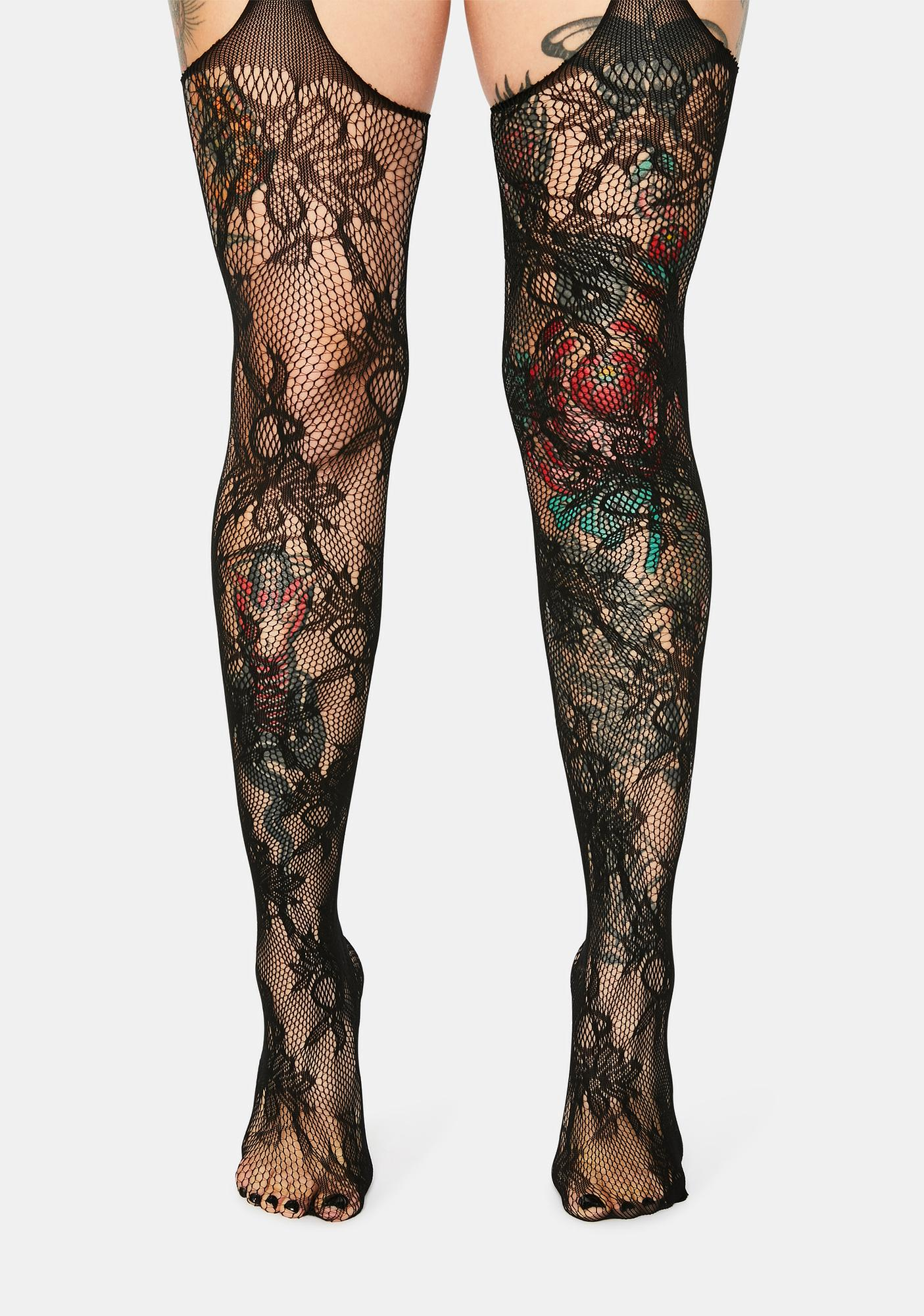 Sexy Lady Floral Lace Garter Stockings