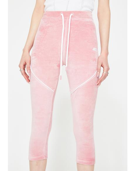 Pink Velour Crop Leggings