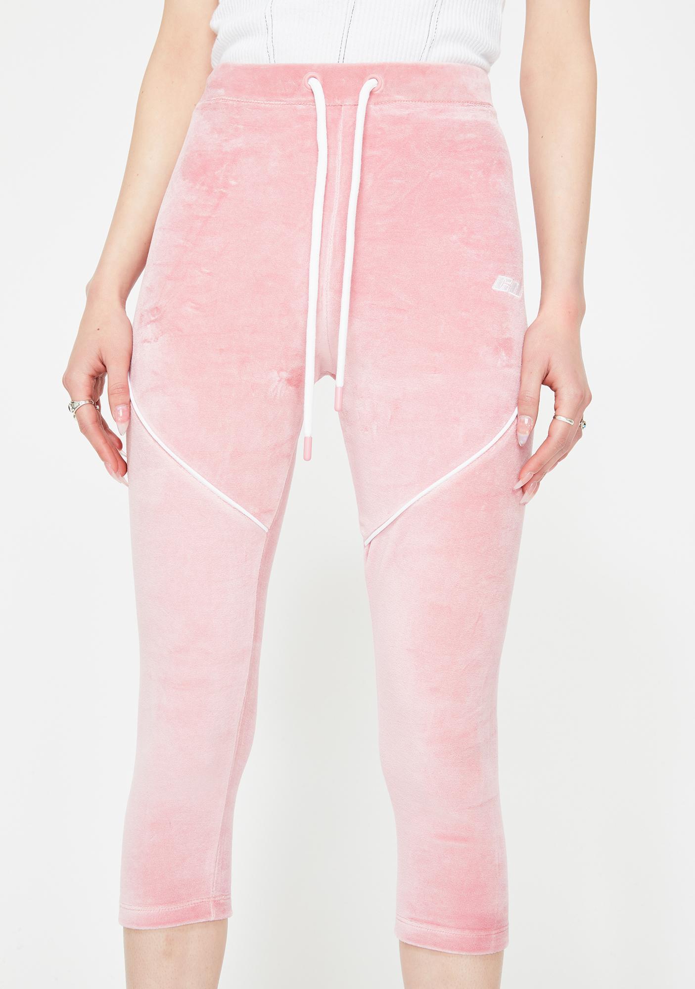 Criminal Damage Pink Velour Crop Leggings