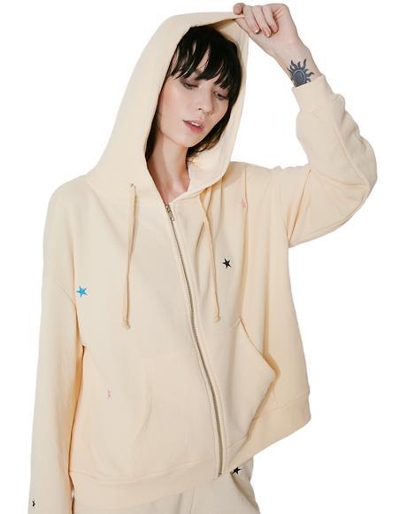 Starlet Embroidery Zip Hoodie