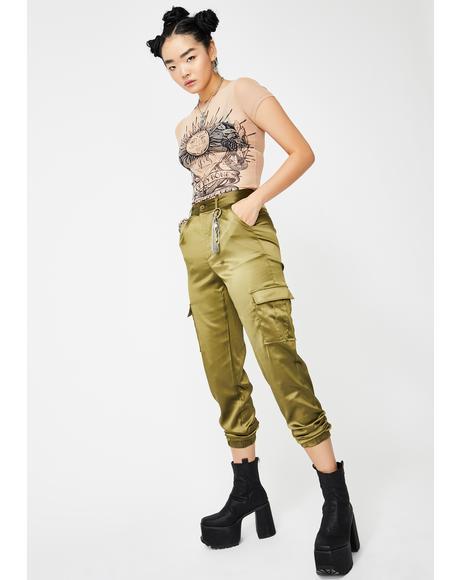 Green Satin Utility Trousers