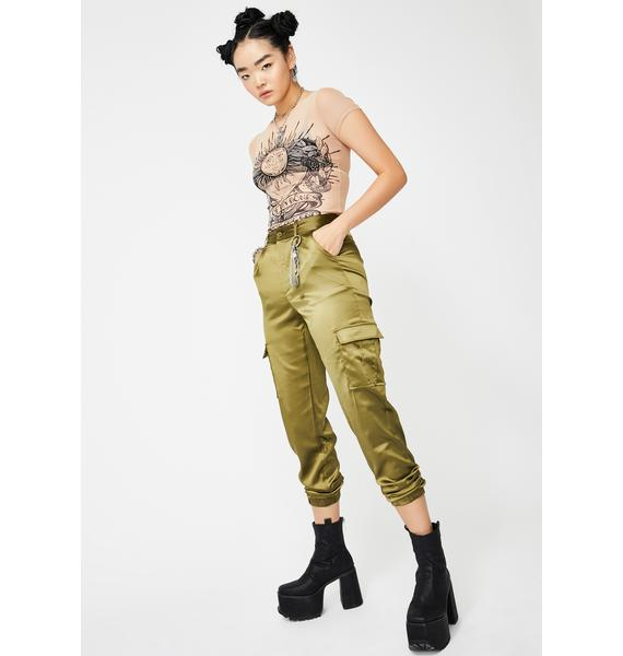 Daisy Street Green Satin Utility Trousers