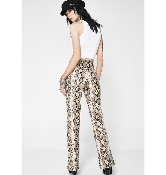 American Deadstock Beige Python Pants