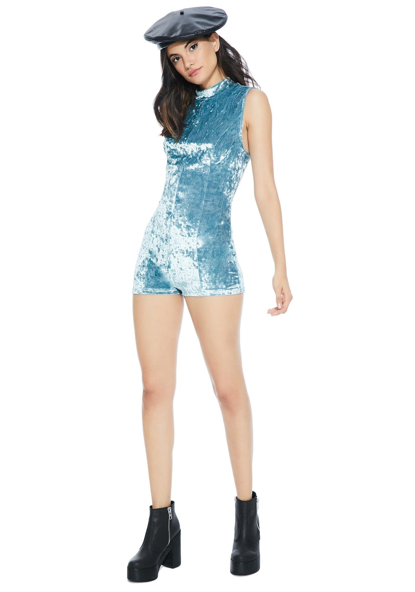 Blue Crush Velvet Romper