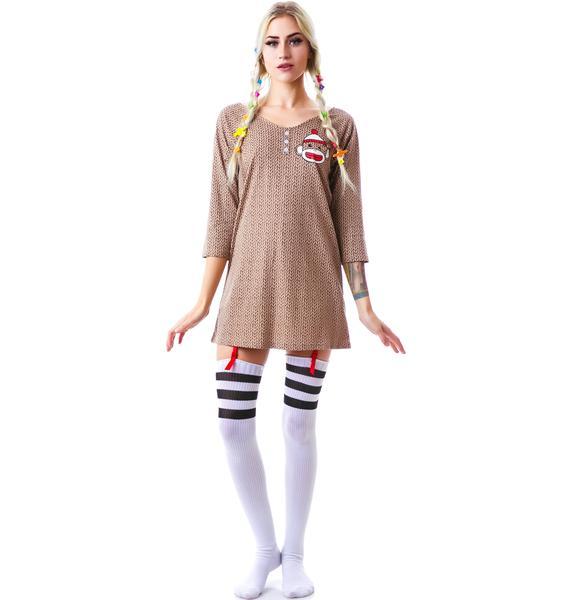 Undergirl Sock Monkey Hooded Dorm Shirt